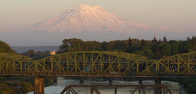 Railroad and Car Bridges over Puyallup River - Mt. Rainier in background