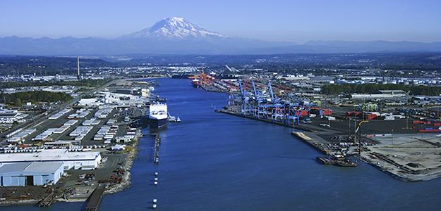 Tacoma harbor and Mount Rainier, Washington