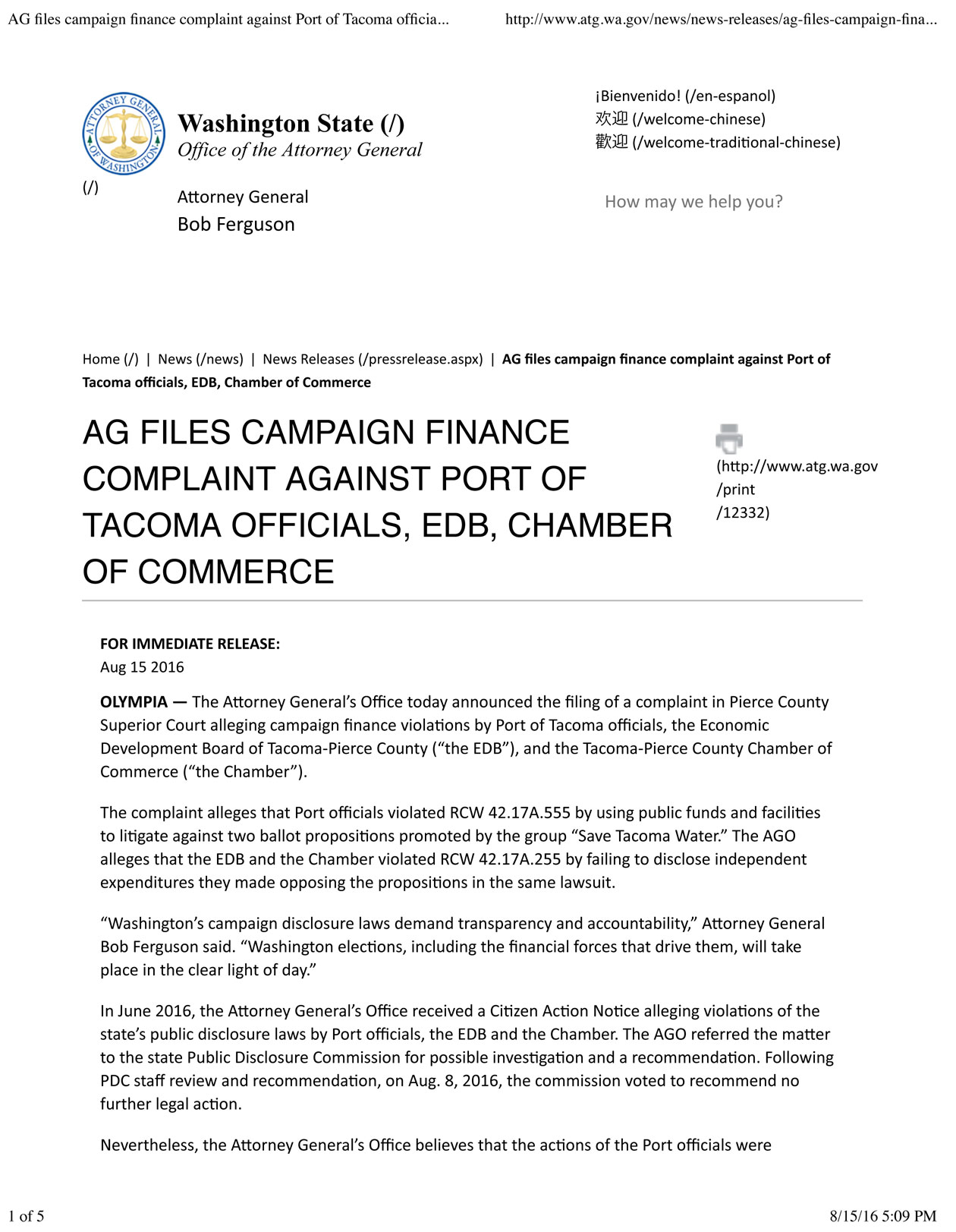 AG-files-campaign-finance-complaint-against-Port-of-Tacoma-officials,-EDB,-Chamber-of-Commerce-_-Washington-State-WS